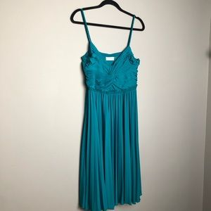 Calvin Klein turquoise gathered front cami dress
